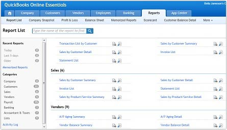 QuickBooks vs. FreshBooks: Quickbooks Reports
