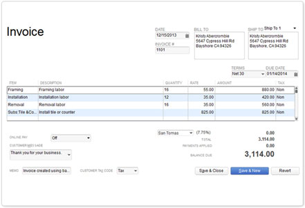 Invoicing and Accounting Software QuickBooks – Payroll Invoice Template